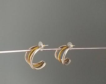 Vintage 80s metal 2 tones earrings
