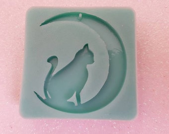 Cat silicone Mold on the moon/Cat on the moon Silicone mold