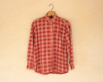 Vintage Burnt Orange Checked Cord Long Sleeved Shirt - Size Medium