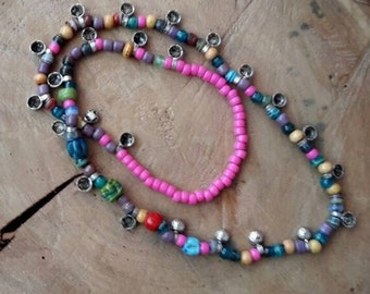 Beaded necklace colorfull/long necklace coin/glass bead necklace long/coin necklace long/hippie chic ethnic necklace