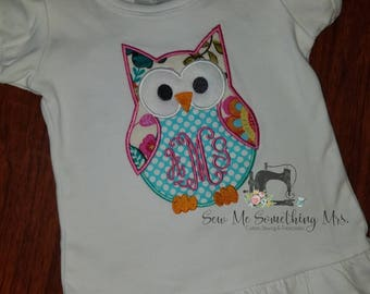 SALE!!! Owl Applique Shirt. Embroidered. Girl.