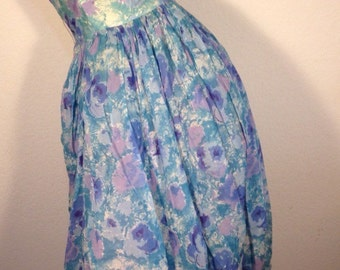 FREE  SHIPPING    1950's Floral  Crepe  Bubble  Dress