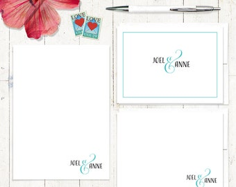 complete personalized stationery set - COUPLES AND AMPERSAND - personalized stationary note cards - note pad - choose color