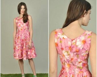 1950s Pink Floral cotton dress   vintage 1950s dress   pink floral 50s dress