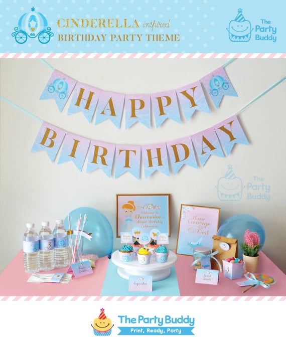 Cinderella Birthday Printable Party Kit Package Girls Princess