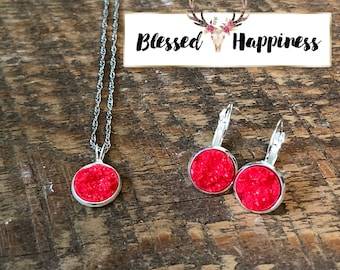 "Red Druzy 22"" Necklace and Dangle Drop Earring Set"