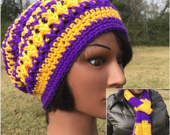 Purple and Gold Slouchy Hat and Scarf Set with Fringe