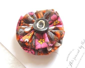 Fabric Flower Hair Clip, Vintage button, Orange Pink Black floral Print, Halloween Hair clip, Fall Hair clip, fabric hair clip accessory