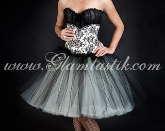 Custom Size Damask black and Ivory burlesque corset Prom dress costume S-XL