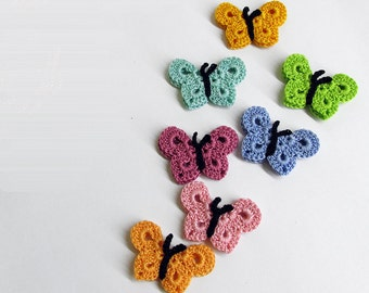 Crocheted Butterfly Appliques, 7 pc.,  Handmade, colourful mix