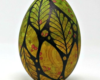 Hand Painted Goose Egg, Early Spring Leaves and Berries, Easter Egg, Spring Decor, Painted Eggs, Egg Art, Tangerine, Mother's Day Gift Idea