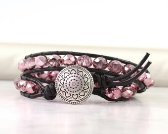 Shiny Pink Wrap Bracelet Summer Fashion Double Wrap Boho Bracelet Bohemian Jewelry Iridescent Black Leather Wrap Bracelet Beaded Wrap