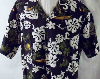 JC Hawaiian Aloha Shirt Black and White Printed Hibiscus Tiki Gods Outriggers and Huts Coconut Buttons 3XL