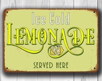 LEMONADE SIGN, Lemonade Signs, Vintage style Lemonade Sign, Ice Cold Lemonade, Sign for LEMONADE Stand, Lemonade Party, Lemonade Decor