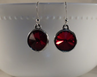 Siam Rhinestone Earrings, Light Siam Rhinestone Earrings, Rhinestone Earrings, Minimal Earrings, Gift :)