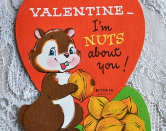 Vintage Valentine Card - Squirrel Nuts About You - School Valentine