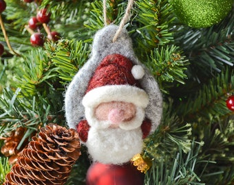 Needle Felted Santa Christmas Ornament, Felted Wool, Rustic Handmade Decoration, Christmas Tree Decoration