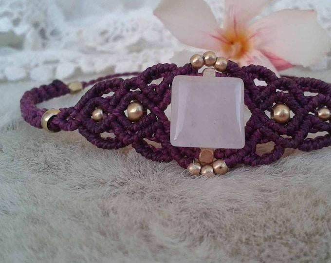 Macrame Bracelet with rose quartz, adjustable bracelet, cord bracelet, brass balls, nickel free, water resistant, fairy bracelet
