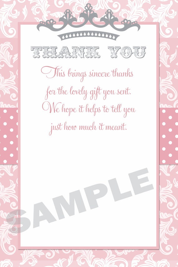 Princess Baby Shower Invitation in Pink and Grey with a Tiara