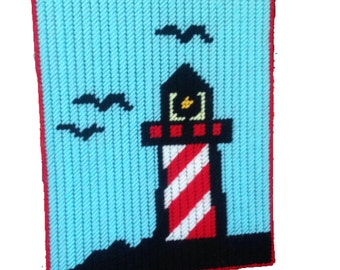 Lighthouse Wall Hanging, Lighthouse Decor in Plastic Canvas