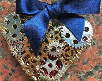 Steampunk jewelry Heart pendant necklace, industrial Gothic with cogs, red weave double sided,ribbon bow gifts for her. Handcrafted art.
