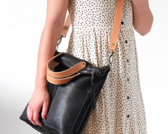 Black Leather Crossbody Bag Convertible to Backpack, Leather Foldover Bag Tote Bag;  The TAMBALE in Black Leather by Awl Snap