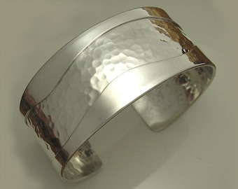 Sterling Cuff Bracelet With Hammer Texture and Smooth Sides