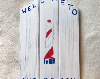 Lighthouse, beach, Welcome