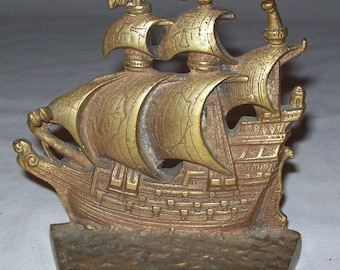 Vintage Cast Brass Bookends Sailing Ships Set Nautical Old English Book Ends