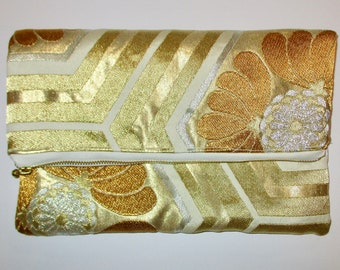 Gold and Cream Hexagons Two-way Fold Over Obi Clutch Purse