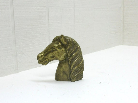 Vintage Brass Horse Head Figurine For Display Or Paper Weight Horse Head