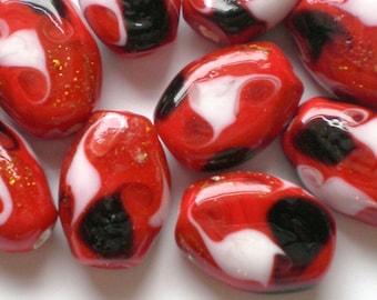 Red Lampwork Beads 10