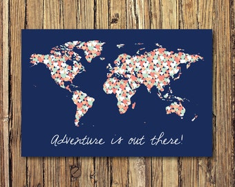 Navy mint world map etsy adventure is out there world map heart gallery wrapped canvas mint gumiabroncs Gallery