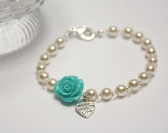 Cream pearls and mint green rose bracelet with heart metal pendent