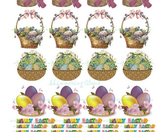 Easter basket labels etsy gift tags cutout eggs easter basket quote words collage negle Images