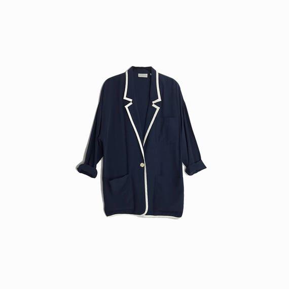 Vintage 90s Oversized Navy Blazer Jacket with White Trim / 90s Yuppy Blazer - women's medium (oversized)