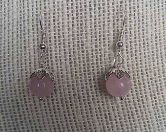 Delicate and Simple Rose Quartz Earrings