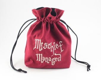 Mischief Managed Wizard Map Dice Bag, Drawstring Bag,