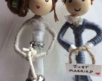 Mr and Mrs first anniversary,  just married, gift, favour, lucky charm, giod luck, customised, choose colours, hair and personalise the word