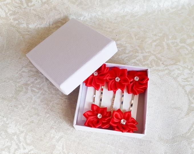 Set of 5 Bobby pin wedding hair clips hand made satin ribbon flower delicate red flower girl prom
