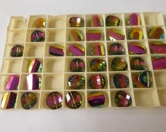 Vintage Swarovski 12mm Pagoda Bead Vitrail Medium II   6 Beads