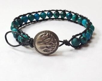 Leather Beaded Bracelet- Turquoise