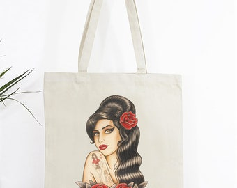 Old School Tattoo Tote Bag, Amy Winehouse, Cotton Tote Bag, Pinup Tote Bag, Vintage Tattoo Tote, Gifts for Her, Tattoo bag, Canvas tote bag