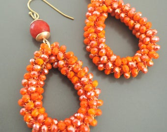 Beaded Earrings - Crystal Earrings - Orange Earrings - Gold Earrings - Boho Earrings - Teardrop Earrings - Handmade Earrings