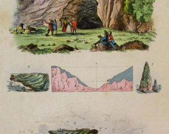 1839 Caves, Sea Arches, Geological formations. Antique Hand-colored Natural History Print, Guerin. Original.