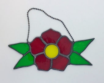 Stained Glass Flower Tattoo Flash Suncatcher Wall Hanging Home Decor
