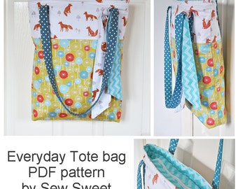 Miss Foxy 'Everyday Tote bag' PDF sewing pattern, craft tote, storage, zippered bag, gusset, sew your own, diy, fabric, sew sweet