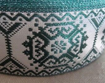 Geometric  Octagon jacquard ribbon SILVER  and GREEN