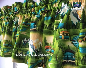 Camping Travel Trailer in the Woods Mountains Retro Valance River Pine Trees Curtain Nature Colorful Curtain Green Curtain Idaho Gallery
