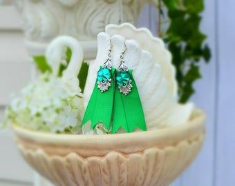 St. Patrick's Day Earrings, Irish Shamrock Green Ribbon Earrings, Good Luck Earrings, Romantic Jewelry